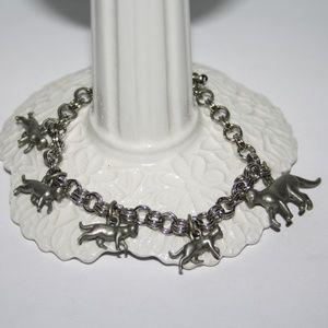 Vintage silver cat bracelet 7.5 inches